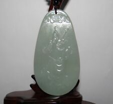 "3.4""China Certified Nature Hetian Nephrite Jade Wealth Guangong Necklace Pendant"