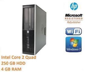 Fast HP Desktop Tower Intel Core 2 Quad 250Gb 4 GB Ram Windows 7