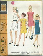 M 9296 sewing pattern 60's yoked DRESS retro stylish sew young junior/teen 15/16