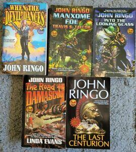JOHN RINGO PAPERBACK NOVELS 5 BOOK LOT SET SCI FI BAEN SCIENCE FICTION MANXOME