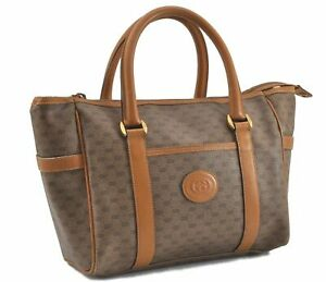 Authentic GUCCI Micro GG PVC Leather Hand Boston Bag Brown D7782