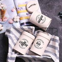 Set Of 3 Tea Coffee Sugar Canisters Kitchen Dry Food Storage Pots Jars