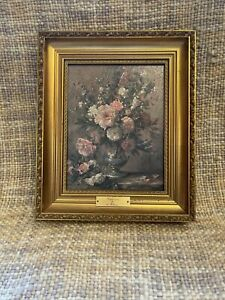 Delphiniums By Albert Williams Oil Effect Textured Print Framed