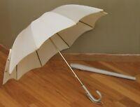 Vintage Umbrella ivory off white faux alligator vinyl handle and case parasol
