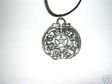 TEMPLAR PENTAGRAM STAR CIRCLE DRAGONS USA CAST PEWTER PENDANT ADJ NECKLACE