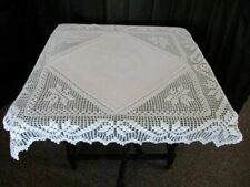 "ANTIQUE TABLECLOTH WITH HAND CROCHET CORNERS & TRIM - 35""sq"