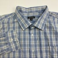 George Button Up Shirt Mens XXL Blue White Plaid Long Sleeve Casual