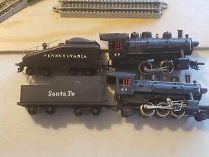 2 Mantua Train Steam Engine Model  Railroads Trains HO Scale Sana Fe works Pa no