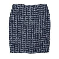 Ann Taylor Navy Blue Houndstooth Tweed Skirt Size 2 Petite Straight encil