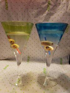 Set of 2 Martini with Olives Blue & Green Gel Novelty Plastic Glasses Bar Decor