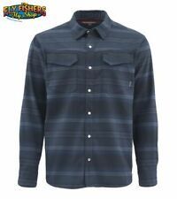 Simms Fishing Gallatin Flannel LS Shirt - Admiral Blue Stripe XL NEW DISCOUNTED