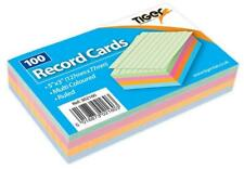 1 x 100 Sheet Pack of Record Flash Cards Coloured Study Revision Coloured 5x3""