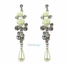 Bridal Wedding White Rose Flower Crystal & Pearl Chandelier Long Dangly Earrings