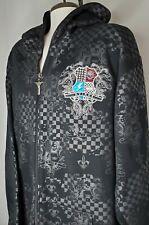 AVIREX Mens XXXL 3XL Sweatshirt Jacket Hoodie Black w/ Embroidery Full Zip Head