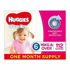 Huggies Ultra Dry Nappies, Girls,Size 6 Junior (16kg+) 112 Count,One-Month Suppl