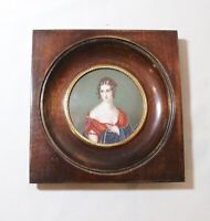 antique 1800s portrait Victorian Pauline Bonaparte miniature painting wood frame