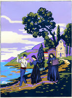 1930s French Pochoir Print Art Deco Sicilian Peasants Dancing Folk Landscape