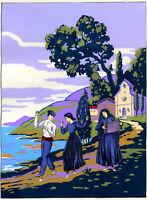 1930s French Pochoir Print Art Deco Sicilian Peasants Dancing Folk Landscape