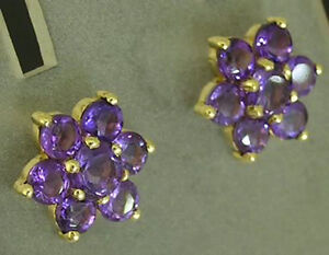 E059- Genuine 9ct Gold NATURAL Amethyst LARGE Blossom Stud Earrings Cluster