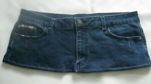 7 Inch Length  Blue Denim  Micro Mini Skirt - Size 14