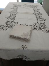 GORGEOUS IVORY Linen tablecloth & 12 NAPKINS WITH PUTTY EMBROIDERY & CUTWORK