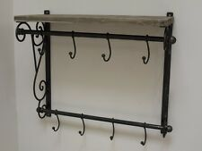 Industrial Rustic Style Wrought Iron & Wood Wall Shelf with Hanging Hooks