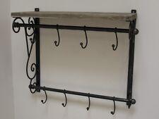 Industriale Stile rustico ferro battuto e legno Muro Scaffale con ganci per appendere