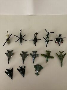 Lot of 13 Vintage Micro Machines Military Aircraft Helicopters And Jets