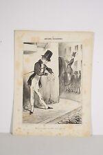 Lithographie DAUMIER v 1840 Emotions Parisiennes, Volé ! Rue vide-gousset