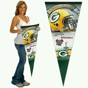 """GREEN BAY PACKERS SUPER BOWL CHAMPIONS PREMIUM QUALITY BANNER PENNANT 17""""X40"""""""