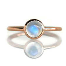 Natural Natural Moonstone 14K Solid Yellow Gold Stackable Tinny Ring Sizes 4-12