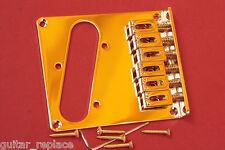 Puente Telecaster 6 Selletas Dorado Tele Bridge Gold Strings Thru Body 6 Saddles