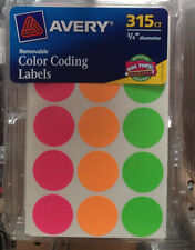 """315 AVERY COLOR CODING LABELS REMOVABLE 3/4"""" ROUND YARD SALE STICKERS FLEA"""