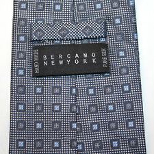 NEW Bergamo New York Silk Neck Tie Dark Gray Charcoal with Blue Squares 1344
