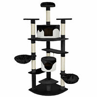 Cat Kitten Scratching Post Tree Scratcher Bed Activity Centre Toy black-white
