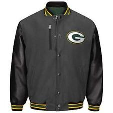 NWT NFL Men's Green Bay Packers Varsity Charcoal /Black Jacket - size Large