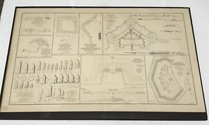 Antique Civil War Map 1864 Forts and Batteries Projectiles Virginia Campaign
