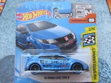 Hot Wheels 2018 #245/365 2016 HONDA CIVIC TYPE R blue HW speed graphics