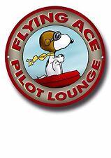 Flying Ace Piloto Lounge Letrero De Metal, Charlie Brown, maní, Snoopy, dibujos animados