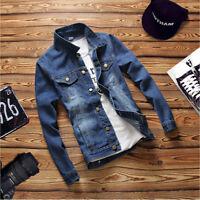 Mens Spring Autumn Slim Fit retro Thicken Coat Jean Denim Jacket Outerwear