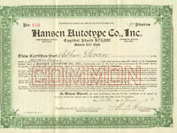 Hansen Autotype > 1919 New York old stock certificate share