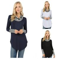 Women's Plus Size Long Sleeve Contrast Turtleneck Stretchy Top Blouse 1x/2x/3x