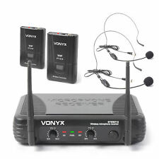 Vonyx STWM712H Dual Channel VHF Wireless Headset Microphone Set Aerobics Gym
