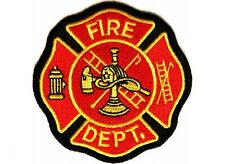 "(G16) FIRE DEPARTMENT 3"" x 3"" iron on patch (2330) Firefighter"