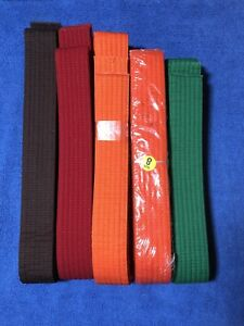 Martial Arts Belts Taekwondo/Karate/Judo/BJJ Various Colors and Sizes Lot of 5