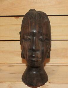 Vintage African hand carving wood woman head figurine