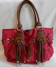 Organizing Shoulder Bag RED HEARTS & BROWN WESTERN TASSELS Handbag PURSE