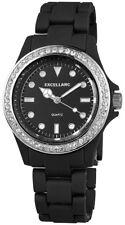Excellanc Damenuhr schwarz Kunststoff STRASS analog Armbanduhr X-225181000003