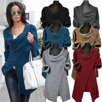 Women Casual Asymmetrical Plain Shirt Tops Cowl Neck Blouse Split Jumper Tops