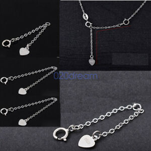 925 Sterling Silver Necklace Extender Chains Bracelet Extension 2 3 4 5 6 inches